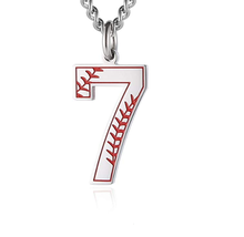 Baseball Eerste Hanger Ketting Inspiratie Baseball <span class=keywords><strong>Jersey</strong></span> Nummer 0-9 Charms Rvs Ketting