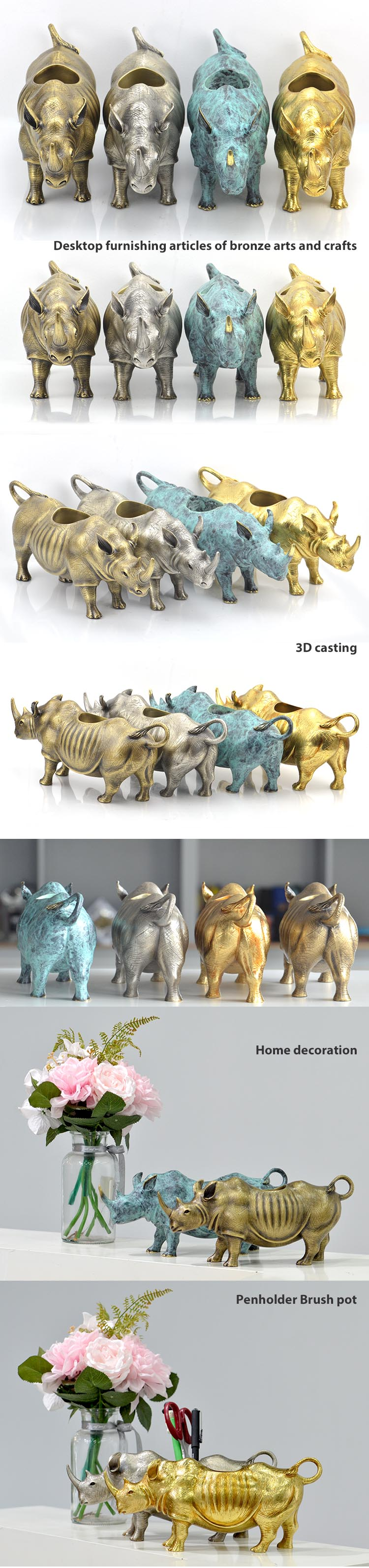 Wholesale Arts And Crafts Gift Decorative Item Supplies Custom Carving Home Decoration Metal Animal Arts Craft