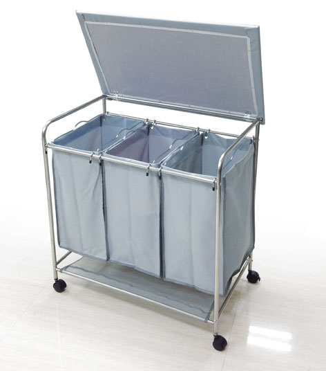 Wholesale hampers laundry cart and sorter wheeled laundry - Panier a linge sale 3 compartiments ...
