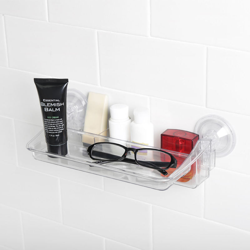 Suction Cup Shelf Clear Plastic Tray