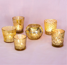 Gold plating high quality popular model candle holder cup engraved DOF open wide mouth