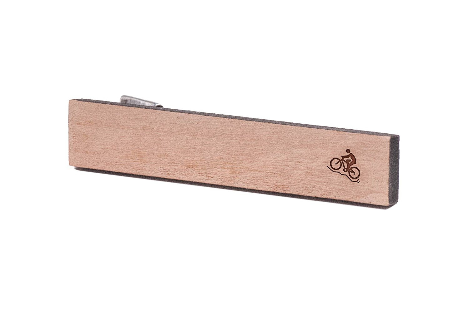 Cherry Wood Tie Bar Engraved in The USA Wooden Accessories Company Wooden Tie Clips with Laser Engraved Blade of Grass Design