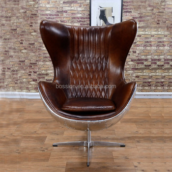 Arne Jacobsen Vintage Style Aviator Swivel Leather Egg Chair