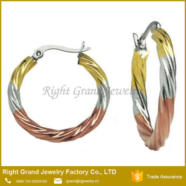 Women Larger Gram Steampunk Hoop Earring Twisted Frosted 24 Carat Color Gold Jhumka Earrings Design