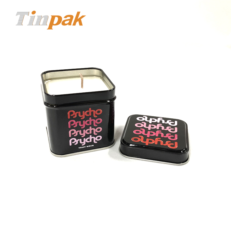 Square candle tin holder as promotional gift