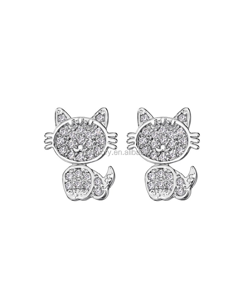 Promotional Cut Cat Shaped Brass Stud Earings Made With CZ Stone And Sterling Silver Needle