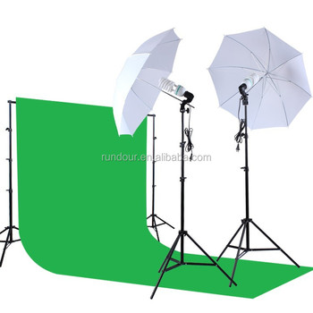 Photography Photo Studio Kit 1.6*3 non-woven fabric Green Screen Backdrop Stand Light Bulbs Swivel sockets