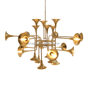 Home Decor Lighting Gold Iron Material Horn Trumpet Indian