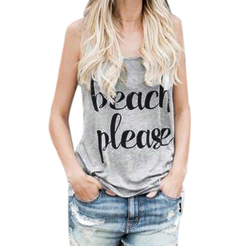 WM & MW Sexy Women Vest Tops Sleeveless Beach Please Letter Slogans Casual Tank Tops T-Shirt Blouse