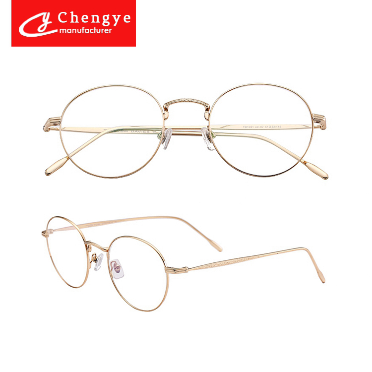 Literary style retro round glass metal spectacles 18k gold optical frame wholesale