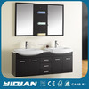Modern Larger Size Furniture Bathroom Wash Basin Two Basin and Mirror MDF Bathroom Vanity