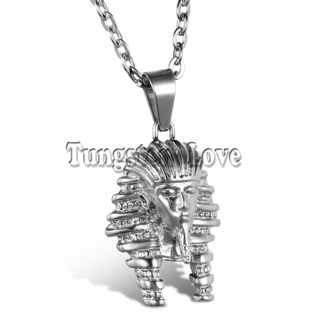 fashion jewelry vintage classic egyptian pharaoh head pendant stainless steel necklace for men. Black Bedroom Furniture Sets. Home Design Ideas