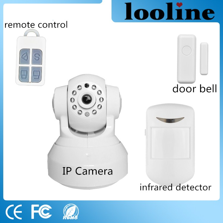 Looline 1.0 MP Wifi Camera Wireless Alarm System Include Security Device For Home Automation