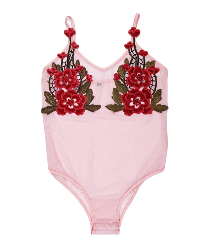 Get Quotations · Pettstore Women s Bodysuit Sexy Flower Embroidery V-neck  Bodysuit Pink Romper 68e956578