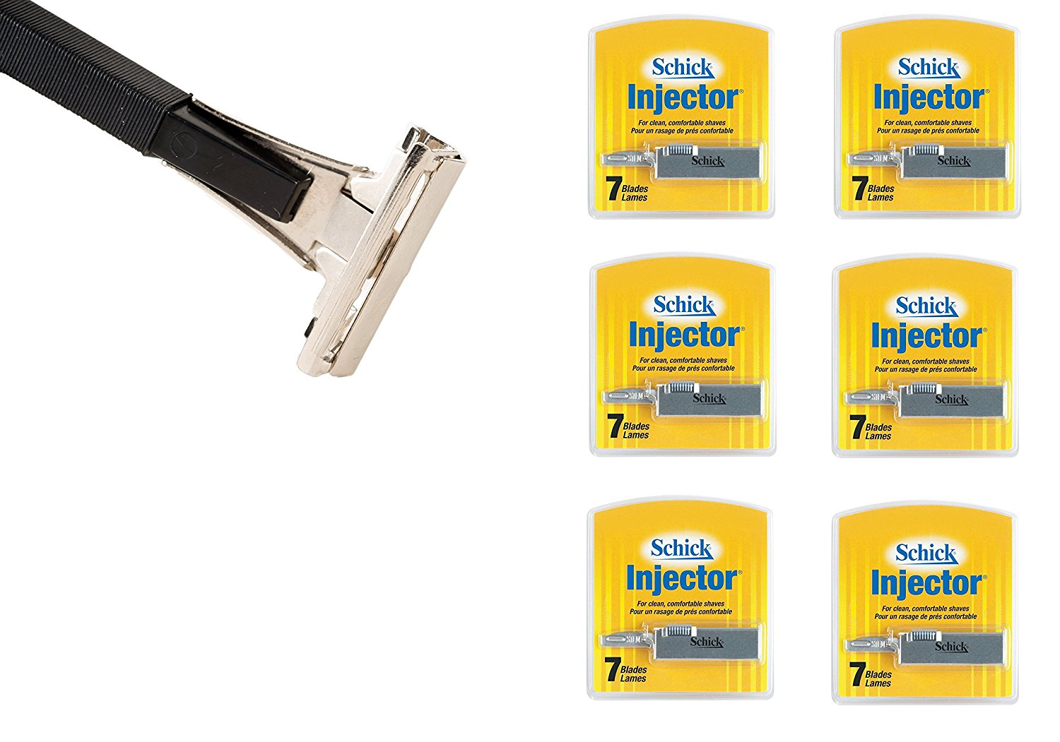Shave Classic Single Edge Razor Handle with Schick Injector Refill Blades 7 Ct. (Pack of 6) ! Razor Compatible with Schick Injector Razor Blades !