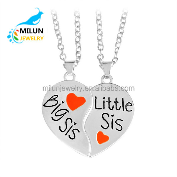 2017 Custom alloy cheap 2pc/set BIG SIS LITTLE SIS good sisters love letter pendant necklace