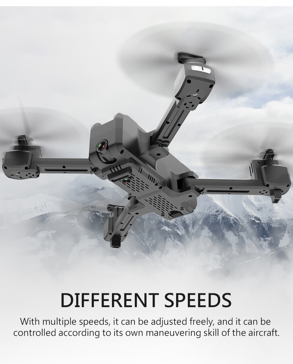 HSCOPTER HS107 4K Camera Drone Foldable Drone/720P Optical Flow dual camera with carry case+3pcs battery (2pcs extra) kits