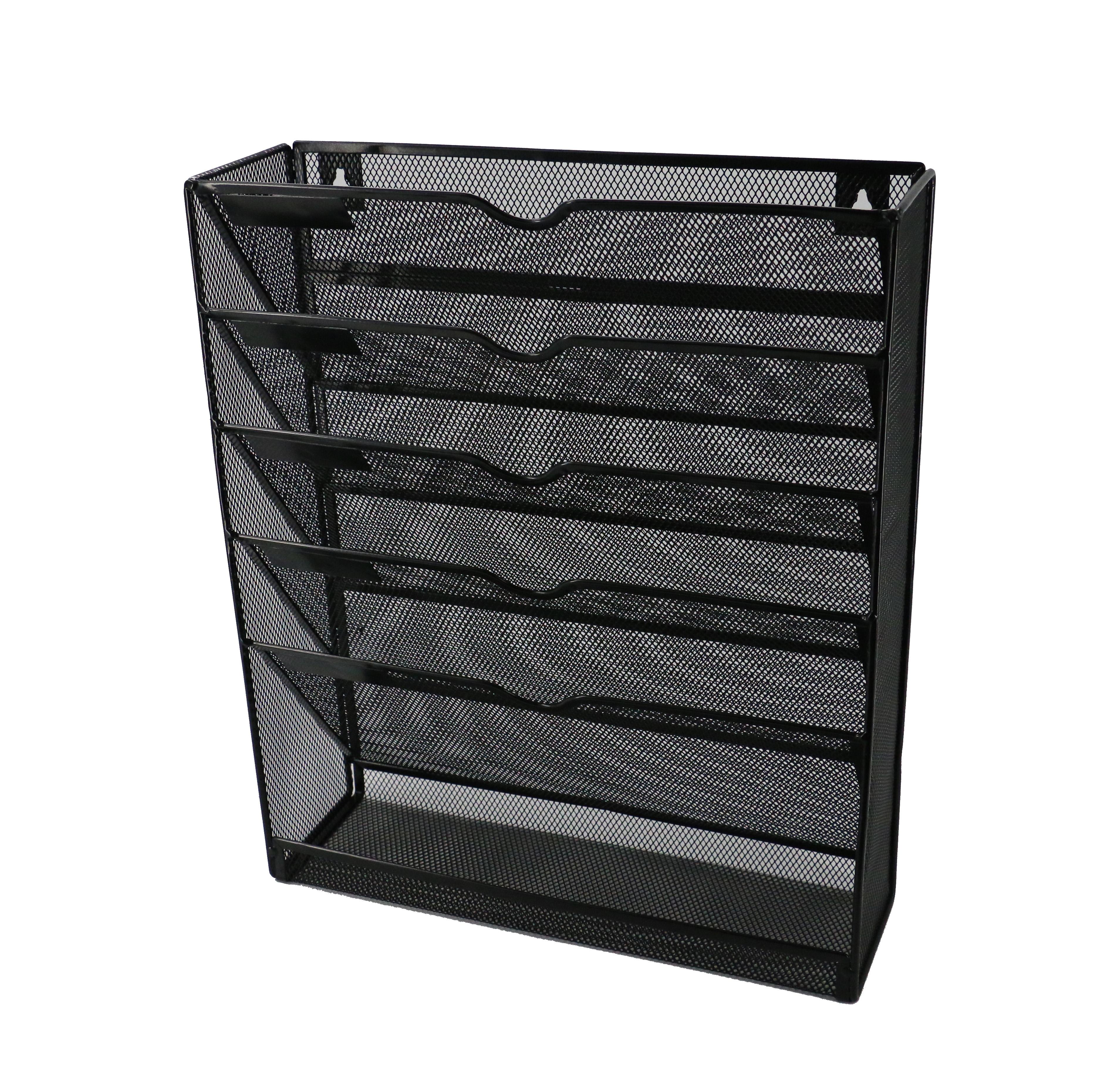 Office Metal Mesh Wall File Mesh Organizer Black 5 Pockets