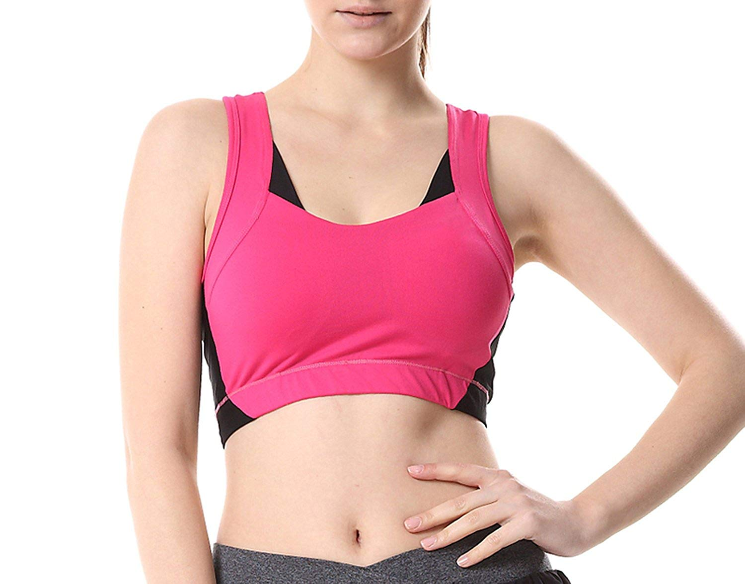 Acereima Summer Women Polyester Stretch Athletic Vest Gym Fitness No Rims Full Cup Padded Bras