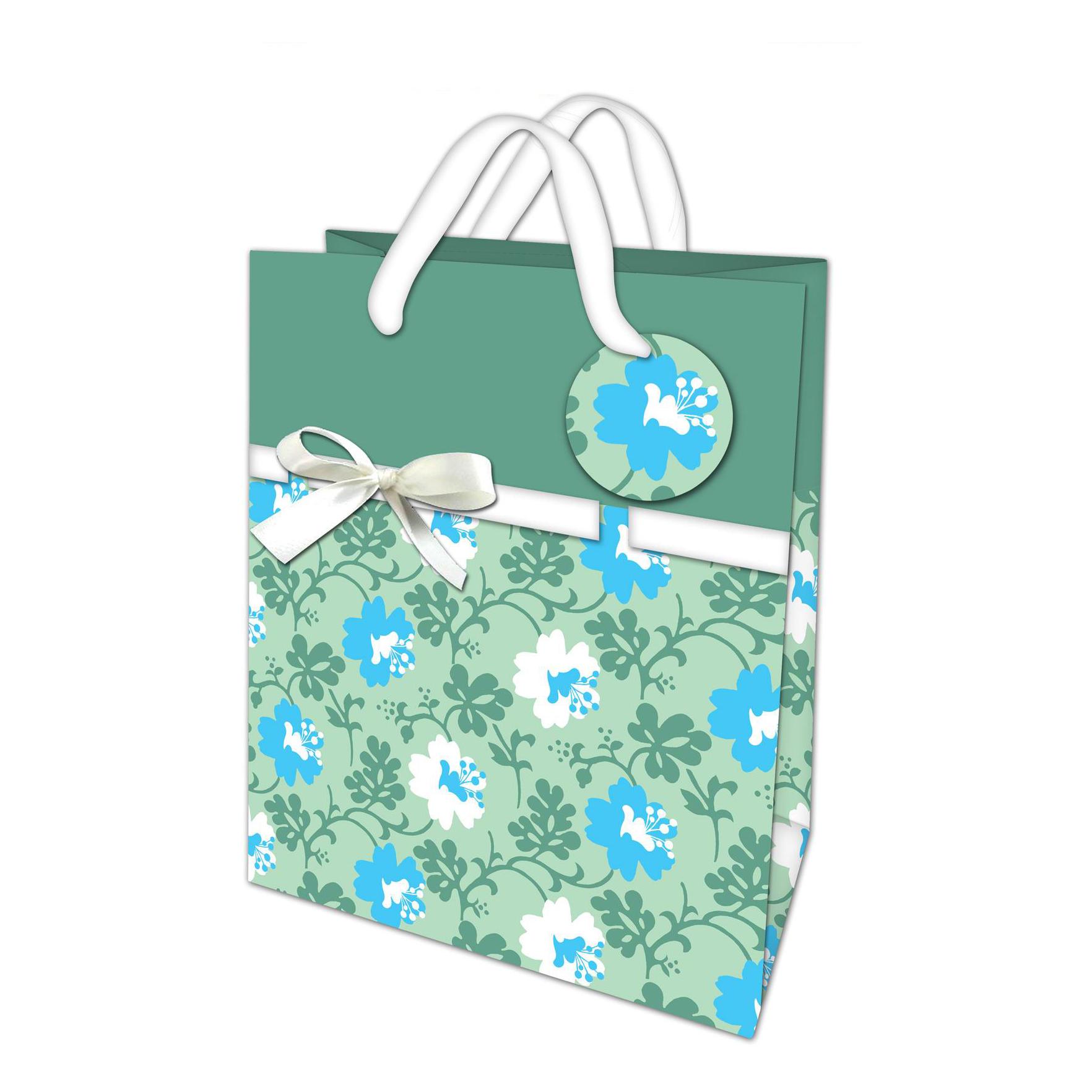 Recycled Custom Logo Flower Design Kraft Paper Gift Bag With Handles, Clothing Packaging Paper Bag