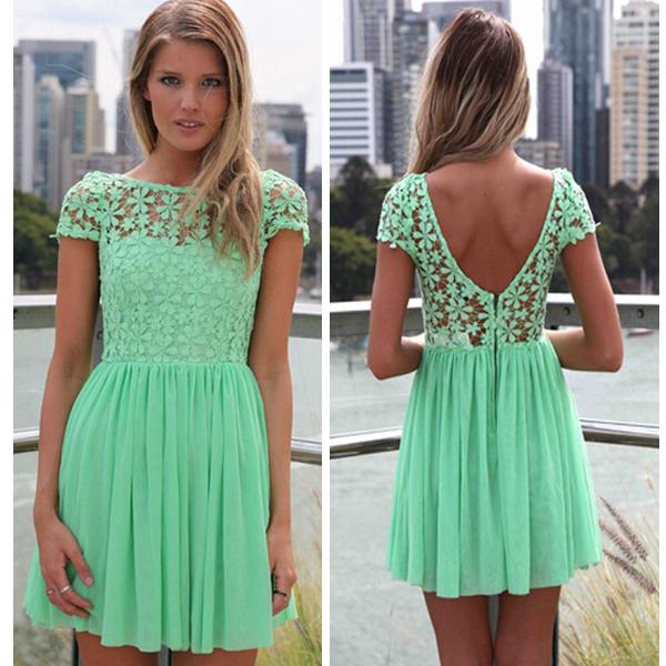 Popular Mint Green Lace Dress-Buy Cheap Mint Green Lace ...