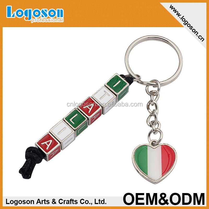 Italy souvenir gift heart and dice shape custom spinning metal keychain