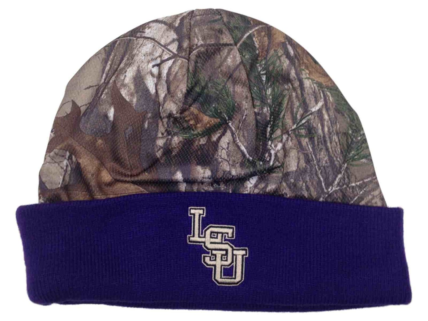 fe906402ce6198 Get Quotations · LSU Tigers TOW Realtree Camo Purple RT Cool Cuffed Knit Hat  Cap Winter Beanie