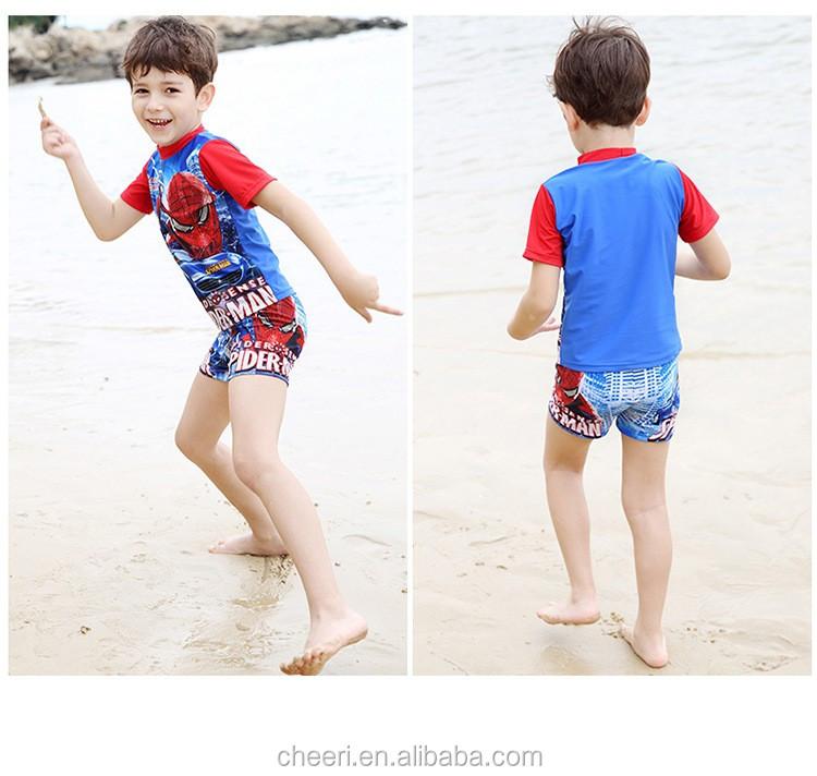 409400af83 Beach Boys One-Piece Swimwear For Children With Cartoon Character + Cap Boys  Swimwear Kids