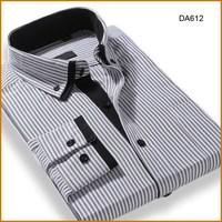 black stripe cotton dress shirt for men plus size long sleeve double collar