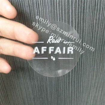 Cutom round dia 50mm clear stickers with white printinground transparent vinyl labelscustom