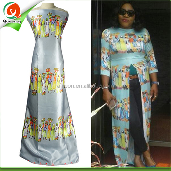 S110 Queency African Printed 100 Polyester Cotton Satin Fabric For Dresses Product