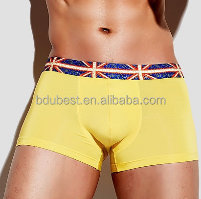 Customized yellow mens underwear boxer