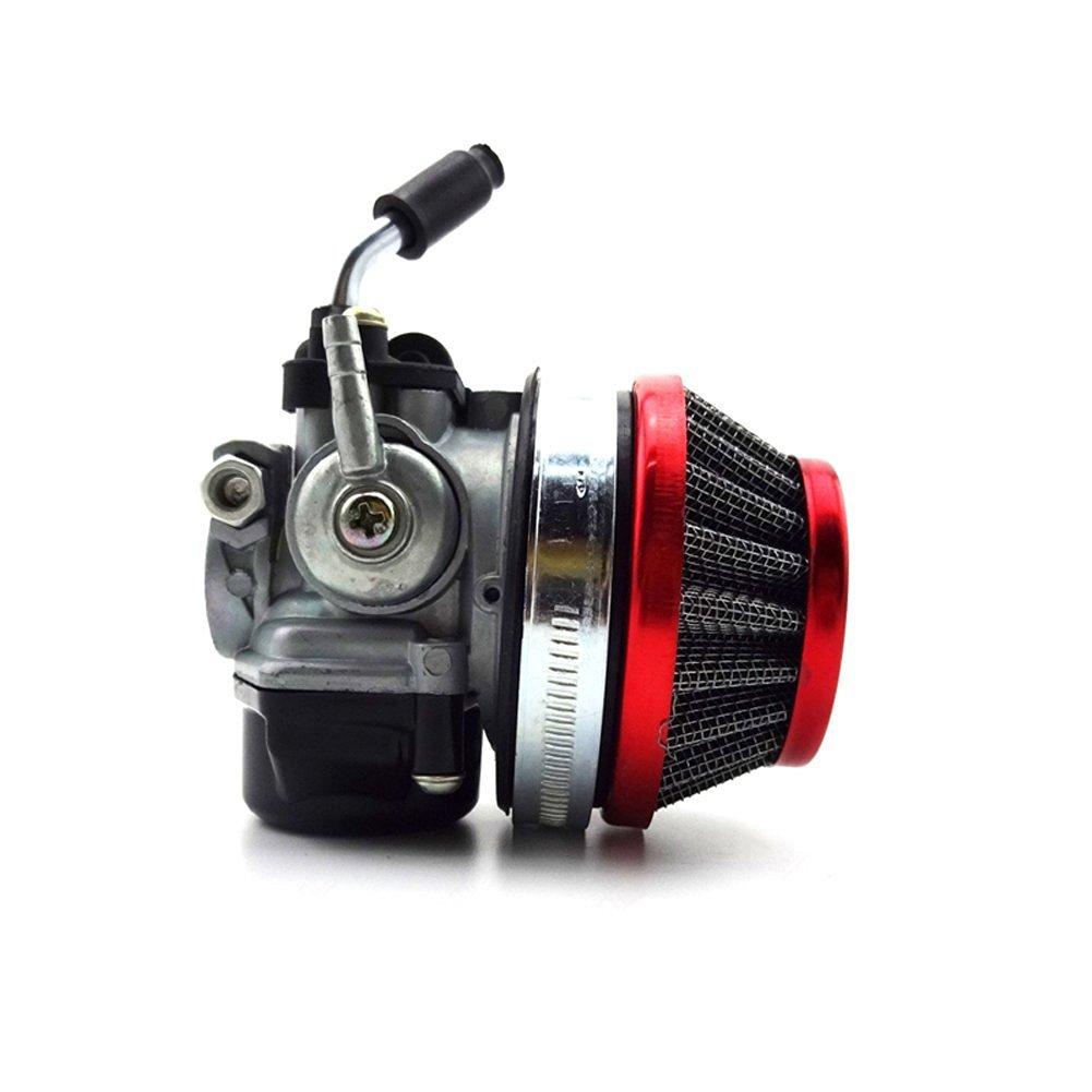 TC-Motor Racing Carb Carburetor + Red 58mm Air Filter For 2 Stroke 49cc 50cc 60cc 66cc 80cc 2 Stroke Engine Gas Motorized Bicycle Push Bike