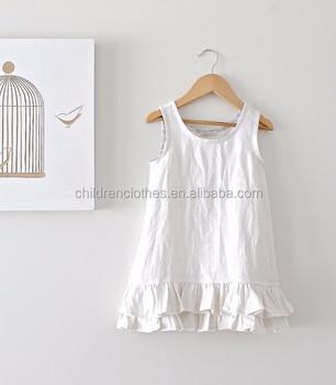 Bulk Wholesale White Ruffle Girls Linen Dresses Sleeveless Plus Size Cloth  - Buy Summer Plain Dress,Flower Ruffle Dress Design,Girls Children Clothes  ...