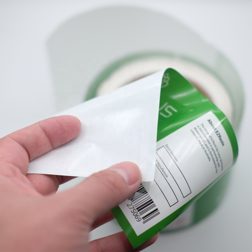 glossy printing biodegradable custom stickers waterproof roll self adhesive pla food labels