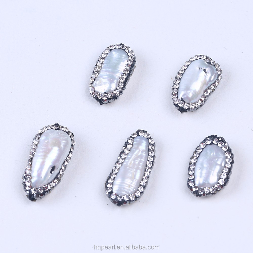 Long Freshwater Pearls Druzy Stone Beads Pave Rhinestone Crystal Connector Spacer Bead