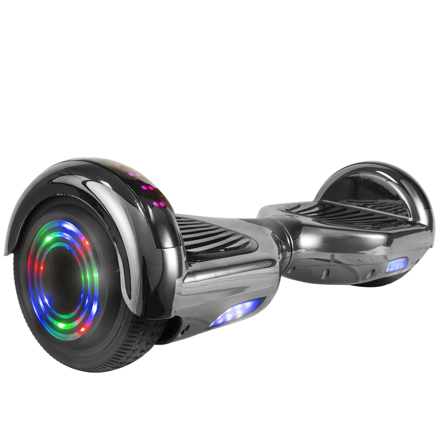 WorryFree Gadgets Chrome Self-Balancing Hoverboard w/Bluetooth Speaker, UL2272 Certified - LED Lights and Light-up Wheels