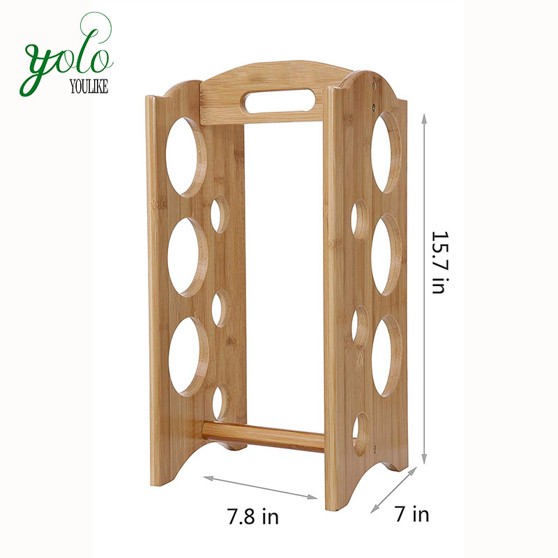 6-Bottles Bamboo Wine Holder with Handle