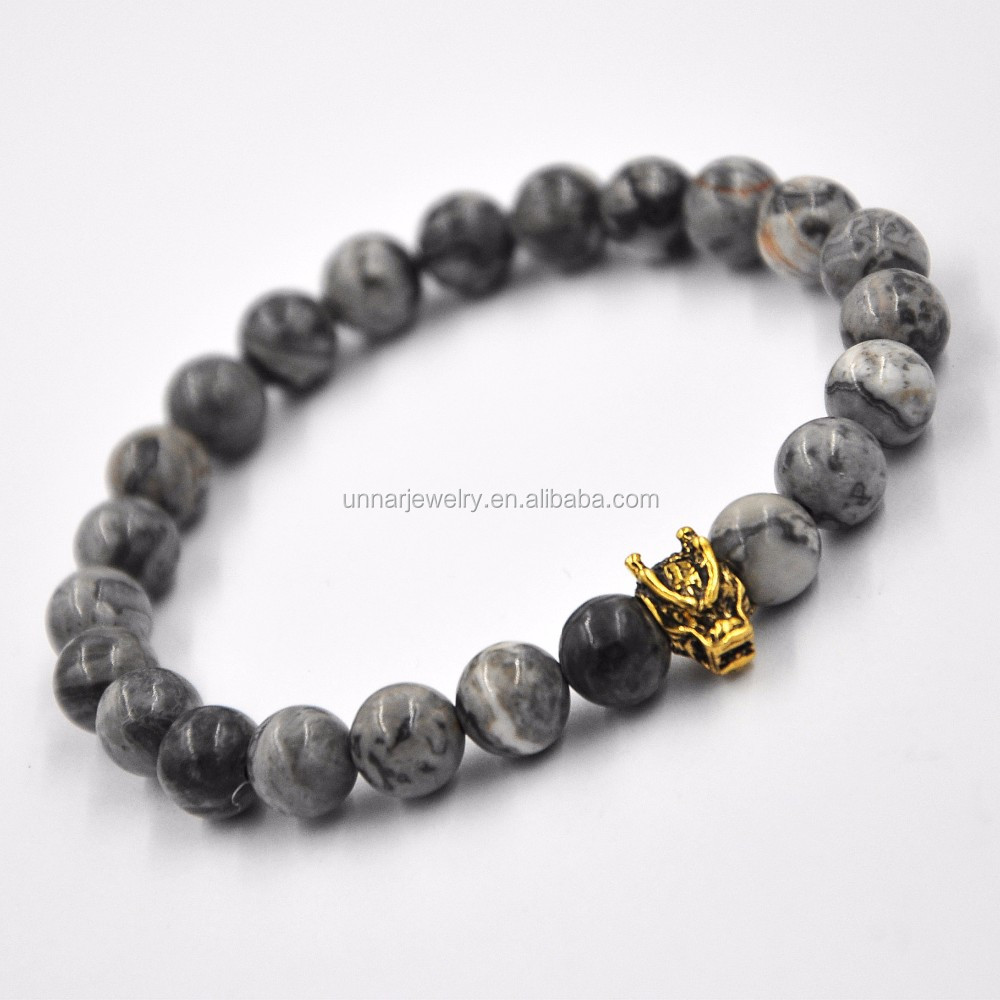 New Fashion Gray Pico Jasper Bead Bracelets Festival Gift Leopard Charms Bracelet For Men