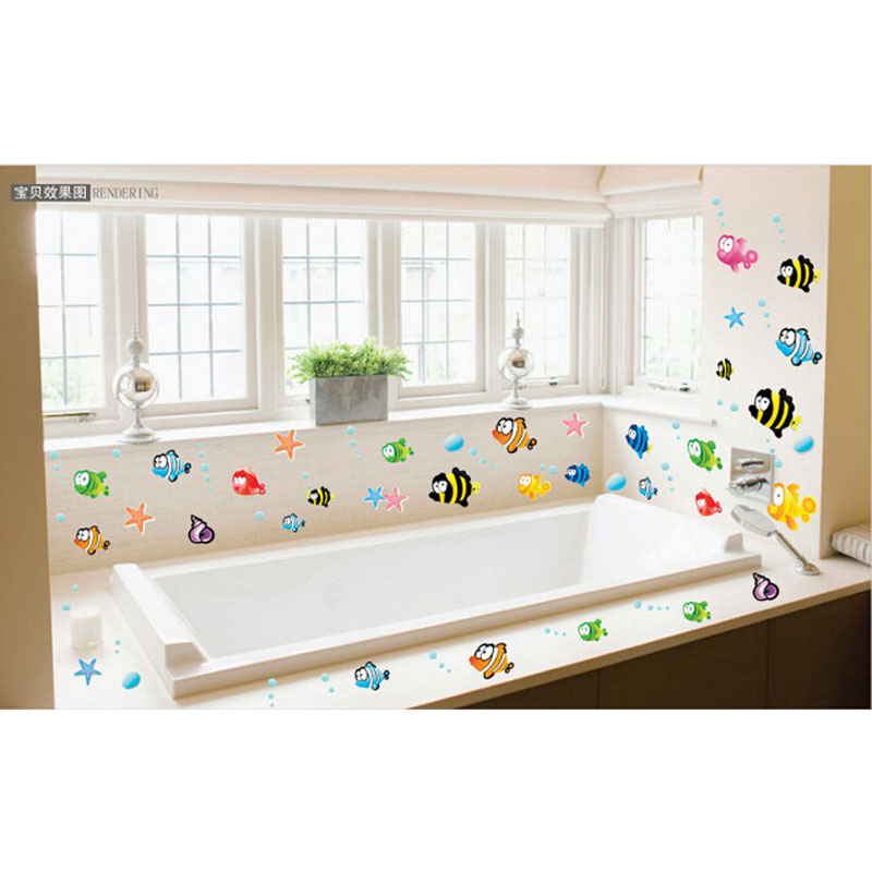 2016 Cute Bigeye Fish Art Wall Window Decoration Bathroom Home Mural Decal Sticker Free Shipping