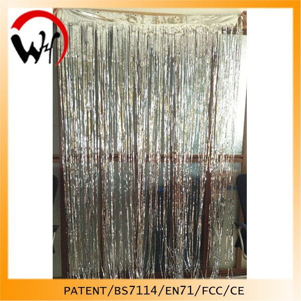 2016 Glitter Effect Silver foil Shiny curtain design 2014