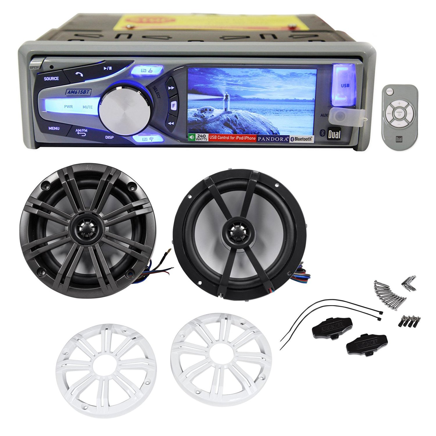 "Package: Dual AM615BT Marine/Boat CD Radio Receiver With Bluetooth Audio, iPhone, and Pandora Control + Pair of Kicker 41KM654LCW 6.5"" 2-Way Coaxial Marine/Boat Speakers Totaling 390 Watt"