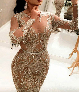 2016 Beaded Strapless Mermaid Ball Gown Champagne Evening Dress For Fat Women plus size evening dress