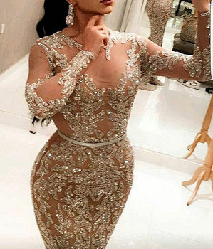 2016 Beaded Strapless Mermaid Ball Gown Champagne Evening Dress For