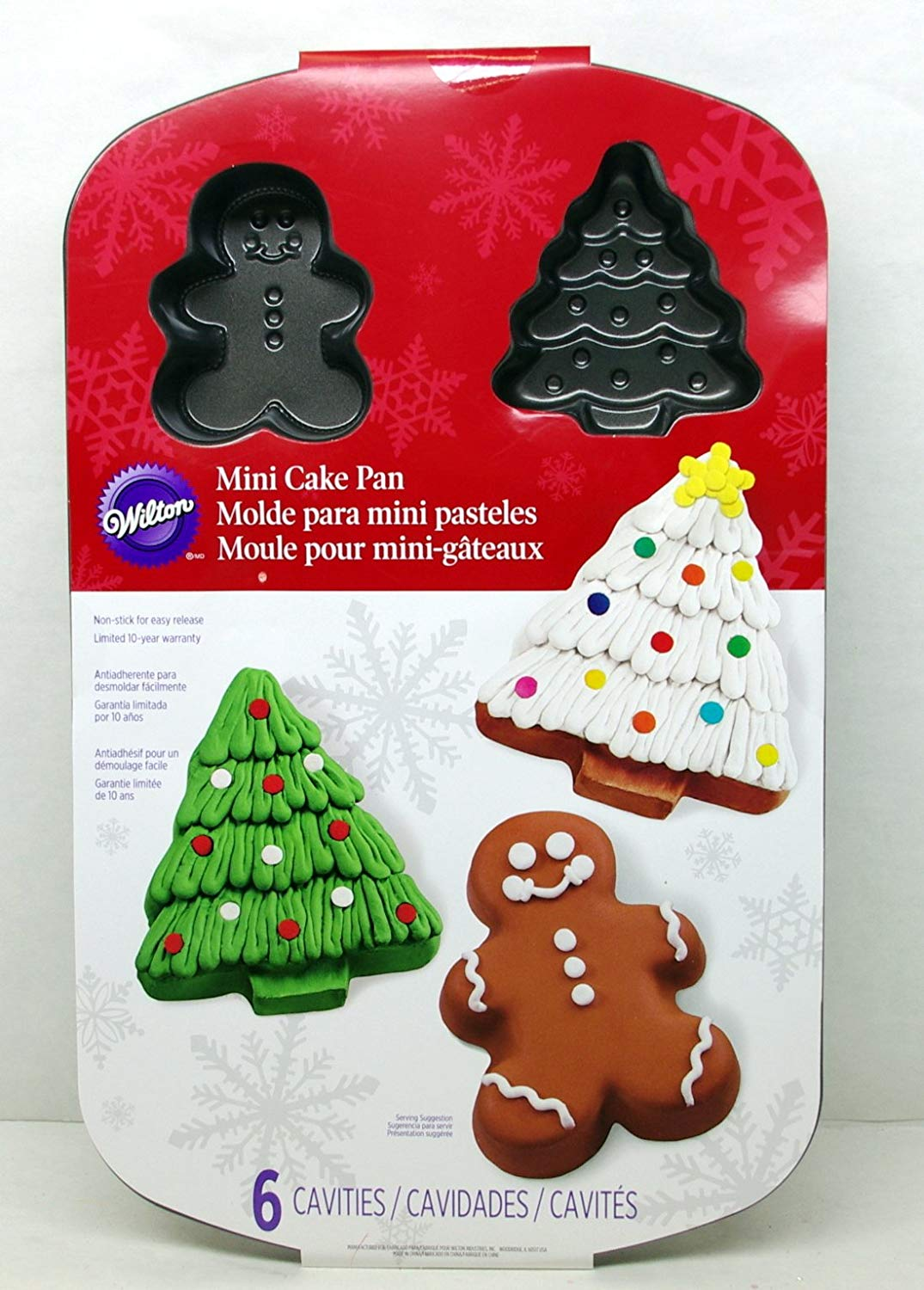 Wilton Mini Christmas Cake Pan - Gingerbread Man & Christmas Tree - 6 Molds Non-stick