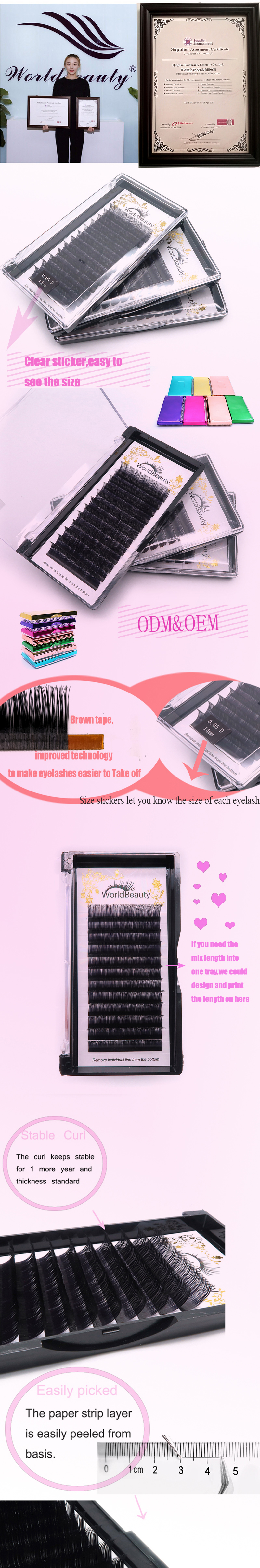 5c40cf5c81a Worldbeauty Lashes Manufacture False Eyelashes Korea 3D Volume Silk Lashes  Individual Lashes Extension