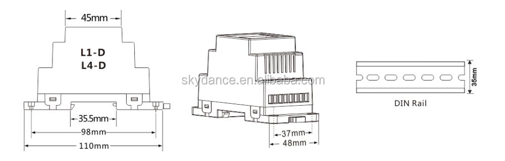 0-10v Din Rail Led Dimmer Led Driver 4 Ways Output Light Controller