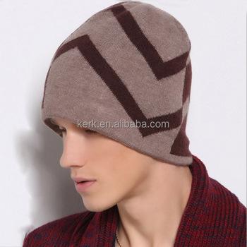 44261322a37 New style winter men hats grid knitted head cap wool ski cap hat wholesale