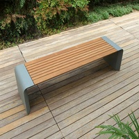 Metal Leisure Backless Street Wood Bench Outdoor Public Modern Waiting Patio Park Bench
