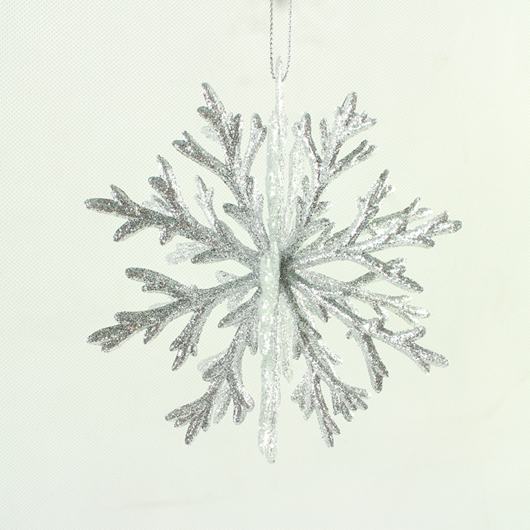 wholesale glitter snowflake plastic outdoor hanging christmas decoration ornaments for home and christmas tree decor